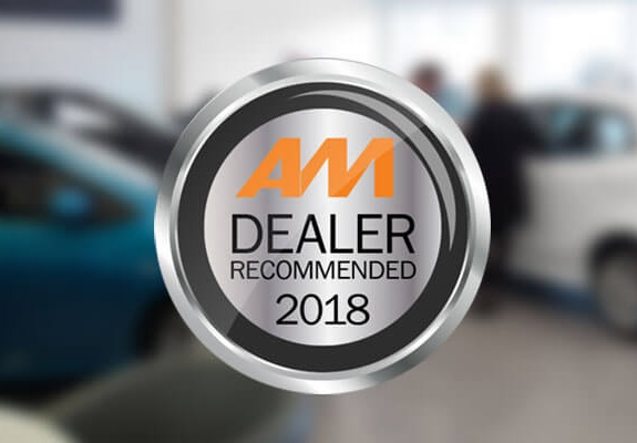 AM Dealer Recommended Awards 2018 icon with a car dealership in the background